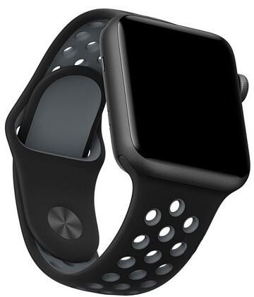 Спортивный силиконовый браслет для Apple Watch 42mm Hoco Sporting Black and Gray