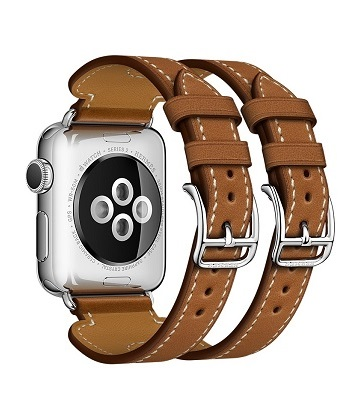 Apple Watch Hermes 38 mm silver-Cuff in leather Barenia Fauve color with double buckle