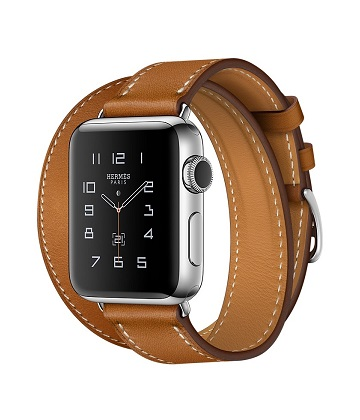 Apple Watch Hermes 38 mm silver-Double Tour Barenia leather Fauve colors