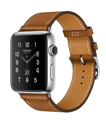 Apple Watch Hermes 42 mm silver-Simple Tour Barenia leather Fauve colors