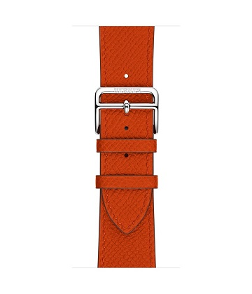 Apple Watch Hermes 42 mm silver, Simple Tour leather Epsom color Feu